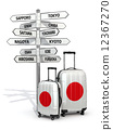 Travel concept. Suitcases and signpost what to visit in Japan. 12367270