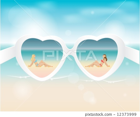 Two beautiful girls reflected in sunglasses on a beach 12373999