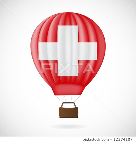 Balloon with flag of Switzerland isolated on white 12374107