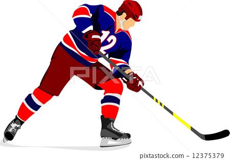 Ice hockey player. Vector illustration 12375379