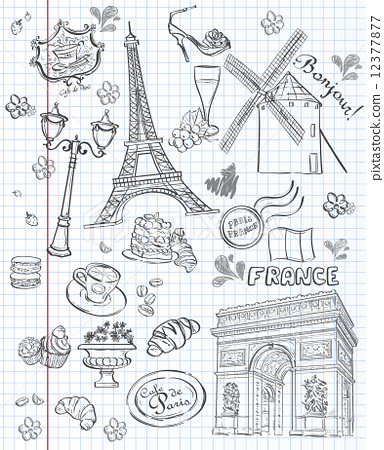 Stock Illustration: Set of images of various attractions, Paris, France. Black contour