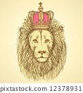 獅子 復古 草圖 12378931