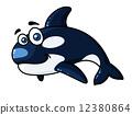 Happy cartoon orca or killer whale 12380864