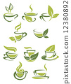 Collection of green or organic tea icons 12380892