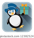 Flat avatar with penguin in blue hat and gift box 12382524