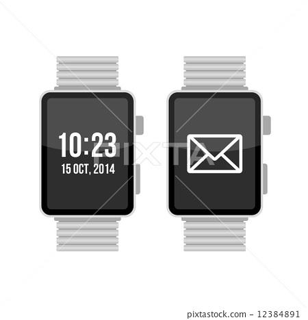 Smart Watch Set on White Background Vector 12384891
