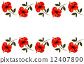 Background with a border of red flowers. Vector. 12407890