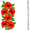 Background with a bunch of red flowers. Vector. 12407897