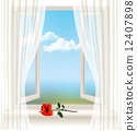 Background with an open window and a red flower. Vector. 12407898