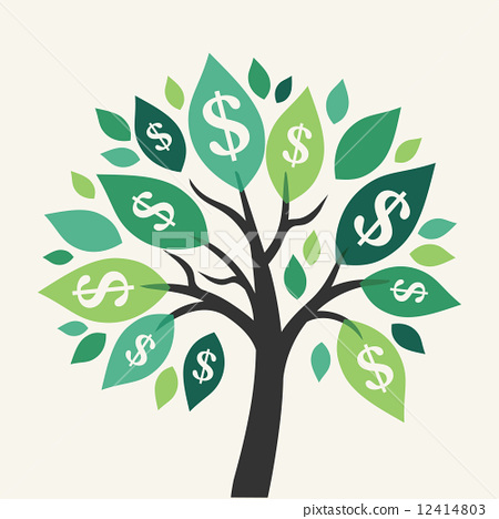 Stock Illustration: Vector money tree - symbol of successful business