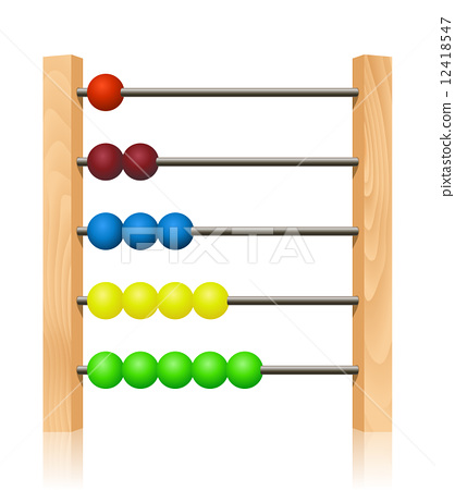 Abacus with colorful wooden beads in front of white background 12418547