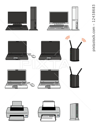 printer, router, using laptop 12438683
