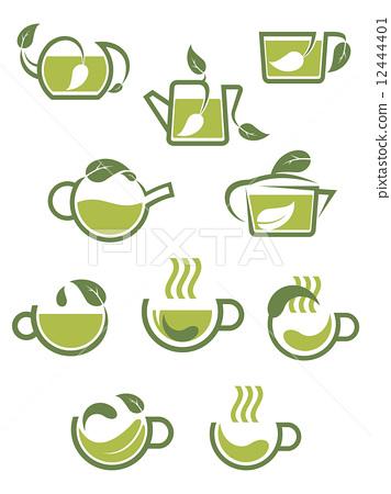 Green herbal tea icons 12444401