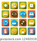 Hotel icons set flat 12460938