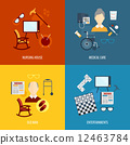 Pensioners life icons flat 12463784