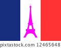 法国国旗和艾菲尔铁塔 12465648