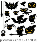 halloween monster design elements set - funny vector animals - cats, bats, spiders and pumpkins 12477034