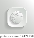 Basketball icon - vector white app button 12479558