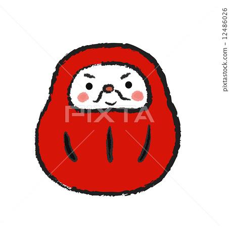 daruma, daruma doll, talisman - Stock Illustration [12486026