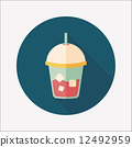iced drink flat icon with long shadow,eps10 12492959