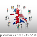 Business people standing with ladder arrow and british flag 12497234