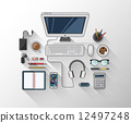 Desk with computer and other accessories vector 12497248