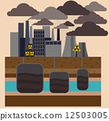 Power plant smokestacks emitting smoke 12503005