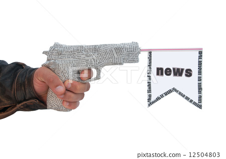 male hand with shoting newspaper pistol and flag on white backgr 12504803