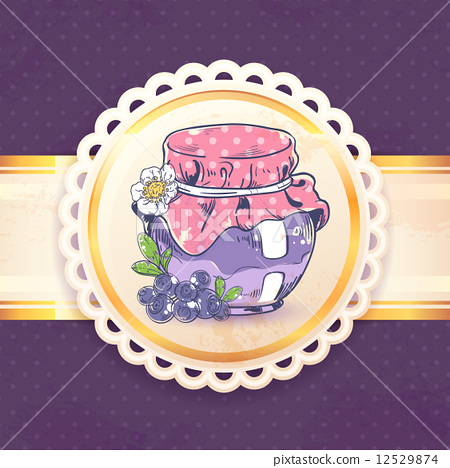 Stock Illustration: Blueberry jam retro background