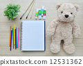 Blank paper, color paint and bear doll on the wood table - Top view 12531362