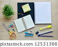Blank paper and office tools on the wood table - Top view 12531366