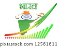 Map illustration of India with flag 12561611