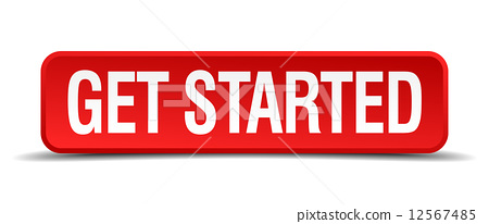 get started red 3d square button on white background 12567485