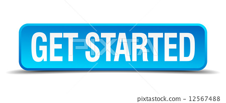 get started blue 3d realistic square isolated button 12567488