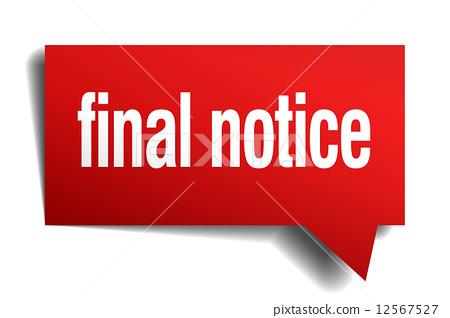 final notice red 3d realistic paper speech bubble 12567527