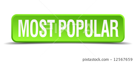most popular green 3d realistic square isolated button 12567659