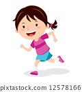 Girl running after soccer ball 12578166