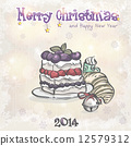 Holiday card for Christmas and the new year with a cake and a bell. 12579312