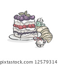 Image of cake with blueberries, strawberries and Christmas bell 12579314