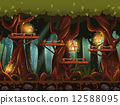 Seamless background fabulous night forest with lanterns, fireflies and wooden bridges in the trees. 12588095