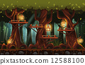 fairy forest at night with flashlights, fireflies, wooden bridges 12588100