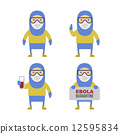Scientist in Protective Yellow Gear. Cartoon Style Vector Set 12595834