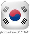 South Korea national flag square button isolated on white background 12615091