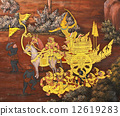 Masterpiece Ramayana painting in temple of emerald Buddha in Gra 12619283