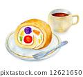 瑞士卷 水彩畫 蛋糕 12621650