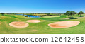 Beautiful panorama of the golf course. Summer of tourists. 12642458
