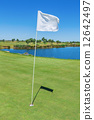 Elements of a golf course flag and hole. Vertical format. 12642497