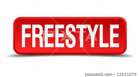 Freestyle red 3d square button isolated on white background 12651079