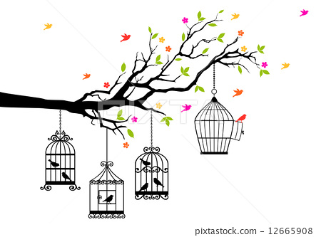 freedom, tree branch with birds and open birdcage, vector illustration 12665908