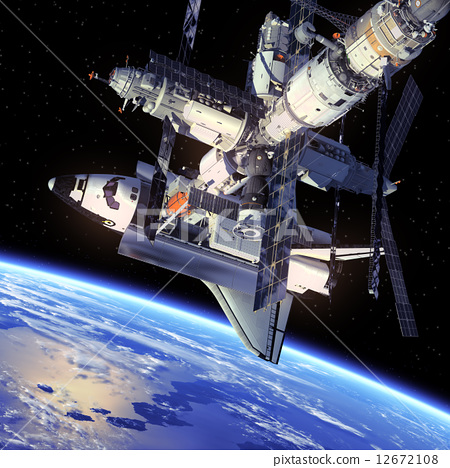 Stock Illustration: Space Shuttle And Space Station